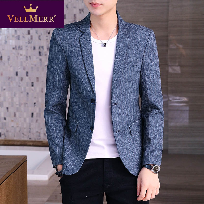 Casual Blazer mens slim fit Korean fashion one piece suit striped top cool coat autumn wear hy0922