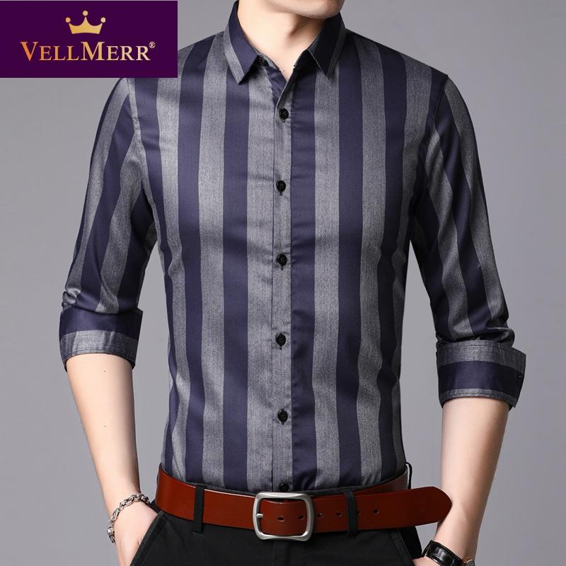中年男士长袖衬衫2020竖条纹商务休闲皱爸爸装衬衣HY0921