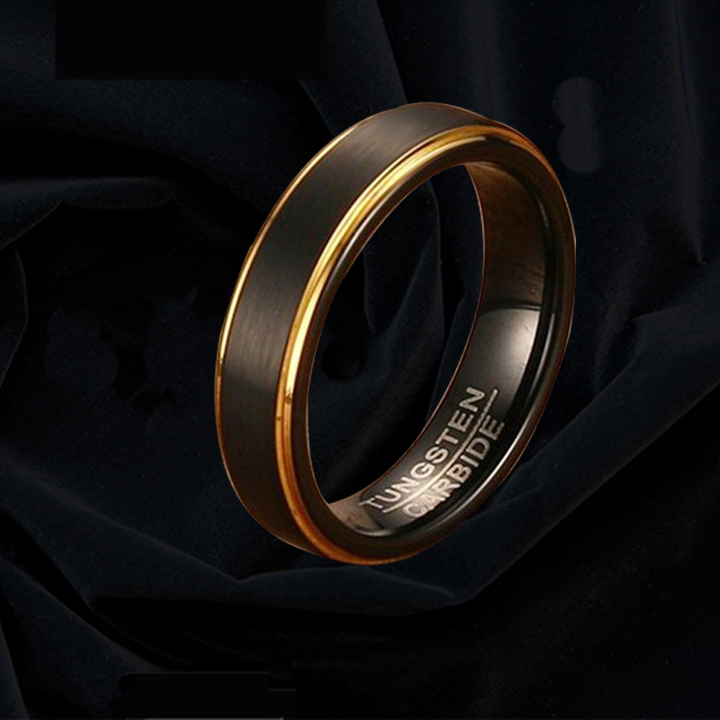 Black gold tail ring male little finger black gold edge trend ring index finger ring tungsten steel single noble European and American ring male punk