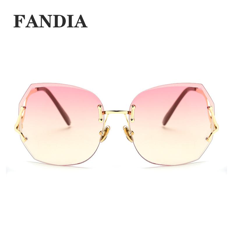 97288 special price frameless diamond trimming sunglasses Fashion Womens curved leg Sunglasses