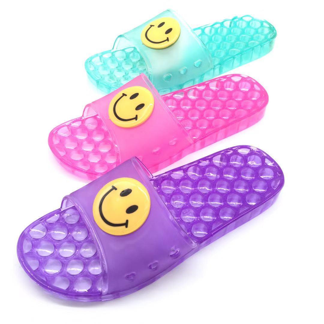 居家拖鞋新款紫色浴室防滑室内防臭透明女士水晶笑面图案一字拖