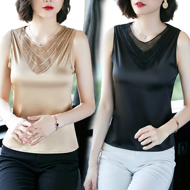 Loose top womens inside with suspender vest silk satin lace sleeveless womens outside wear bottoming black sexy summer