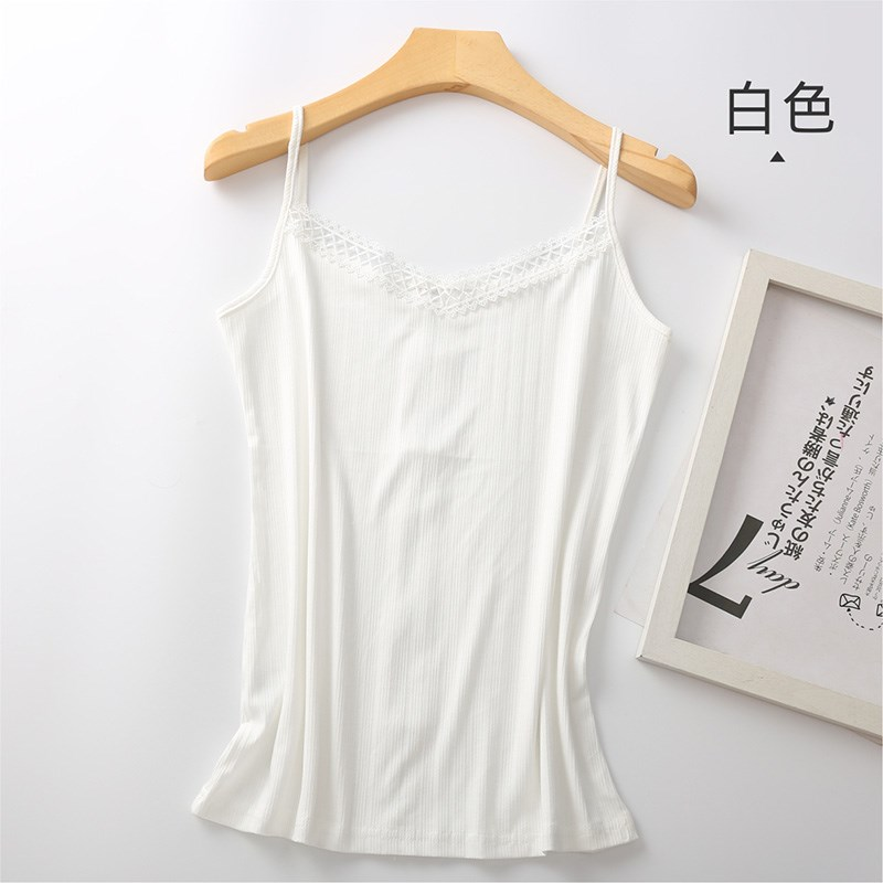 Womens modal womens Vest fashionable cotton with professional foreign style backing and threaded short thin V-neck suit