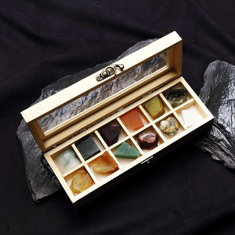 12格天然玉石黄水晶矿石原石切割标本紫晶L石头翡翠和田玉礼品摆