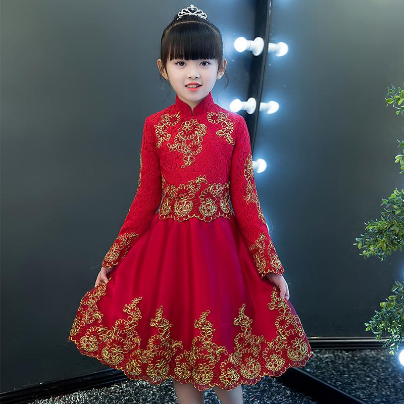 Cô gái váy cưới dài tay mùa thu và mùa đông trẻ em chủ nhà buổi tối váy công chúa váy hoa cô gái piano catwalk trang phục - Váy trẻ em