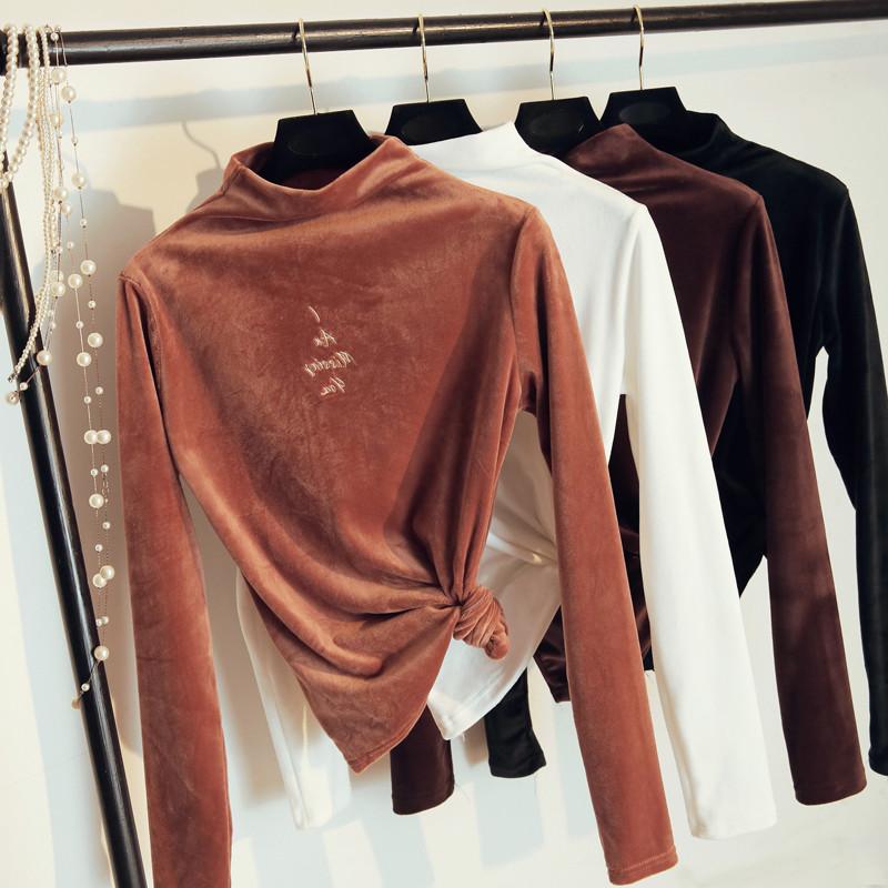 2018秋冬季新款丧系上衣服女装t恤保暖金丝绒紧身加绒加厚打底衫