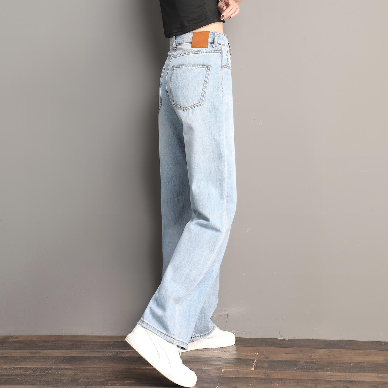 浅色牛仔裤女直筒春秋春季2021年新款女裤春款女士裤子高腰阔腿裤