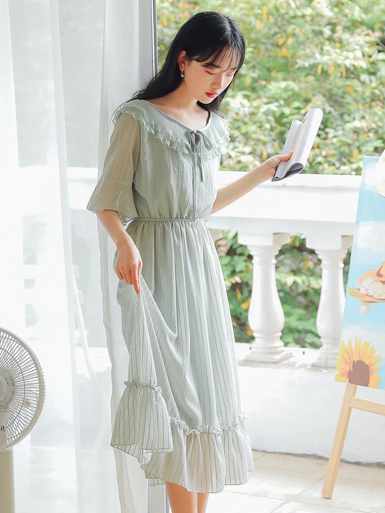 (用81元券)2019夏季新款仙女超仙学生连衣裙