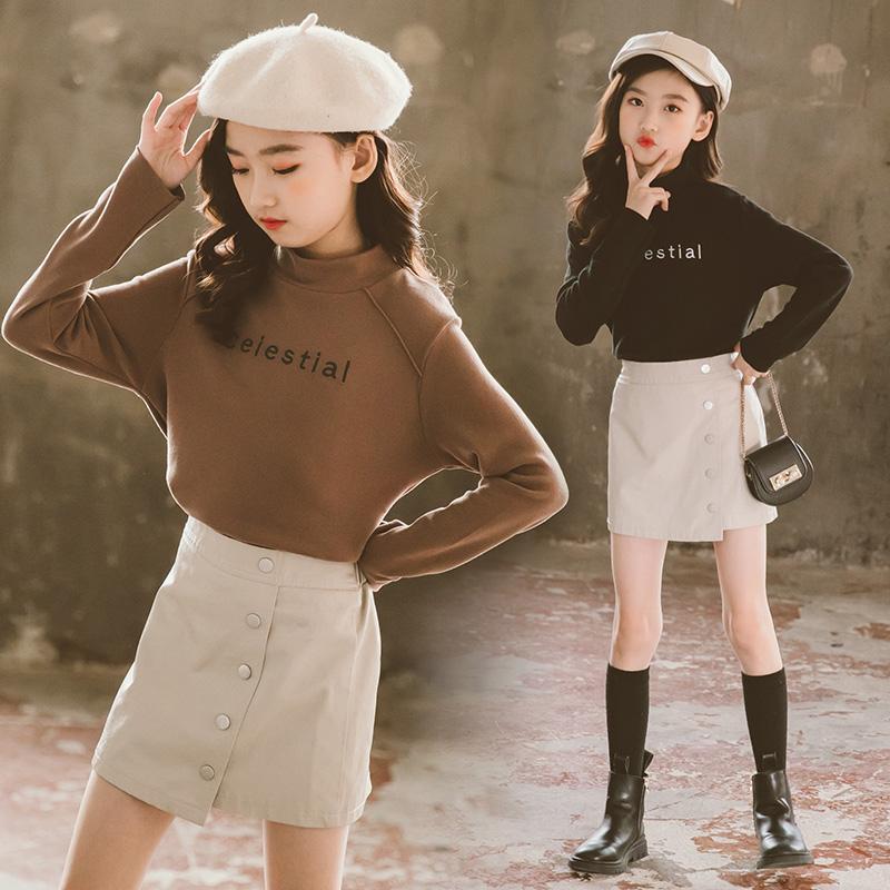韩国女童装秋冬软糯大童百搭打底衫