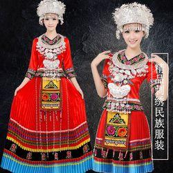 新款苗族服装女演出舞蹈云南民族风长裙贵州少数民族男侗彝族刺绣