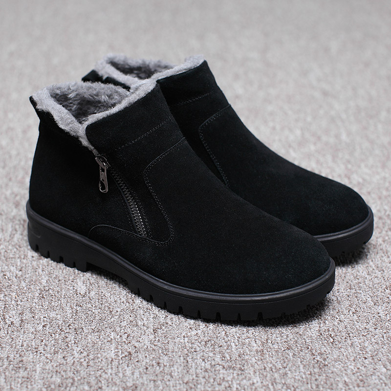 Winter cotton shoes mens Snow Boots Mens thickened warm Plush zipper waterproof anti slip high top northeast mens shoes