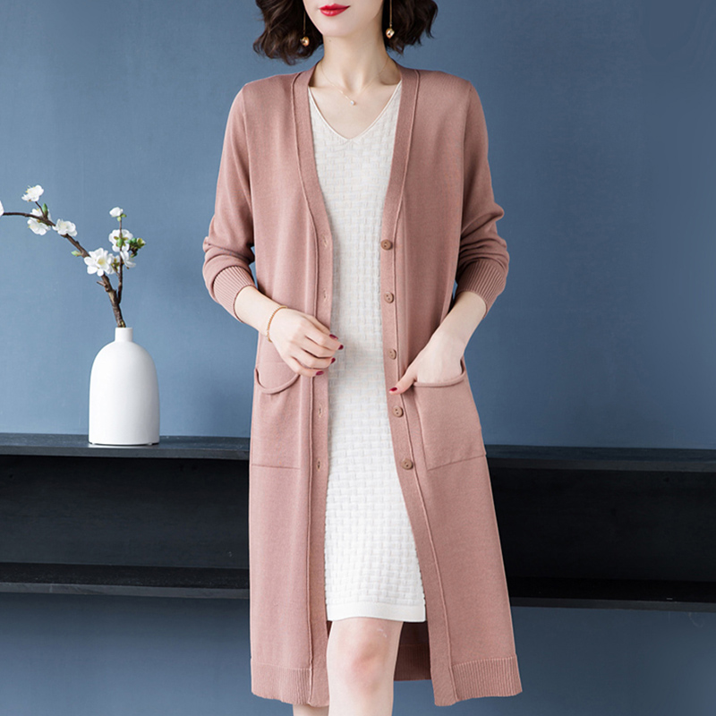 冰丝针织开衫女中长款2020夏季薄宽松外搭披肩长款女士二八月外套
