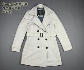 Superdry极度干燥潮牌女中长款修身风衣外套西装领双排扣春秋季