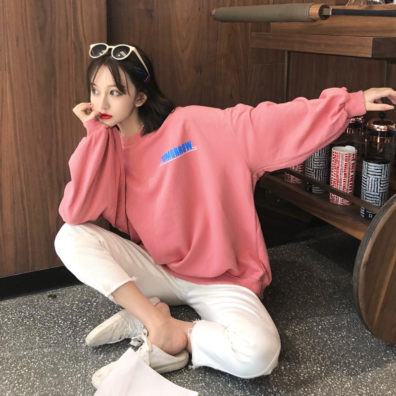 실제 촬영가 게으른 홍콩 바람 편지 얇은 섹션 긴 소매 스웨터 여성을 인쇄