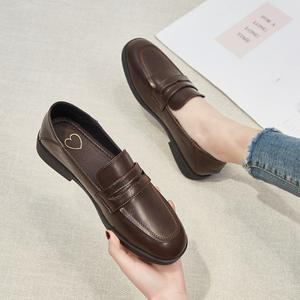 小皮鞋女英伦风2020新款春夏单鞋平底网红百搭乐福鞋黑色豆豆鞋子