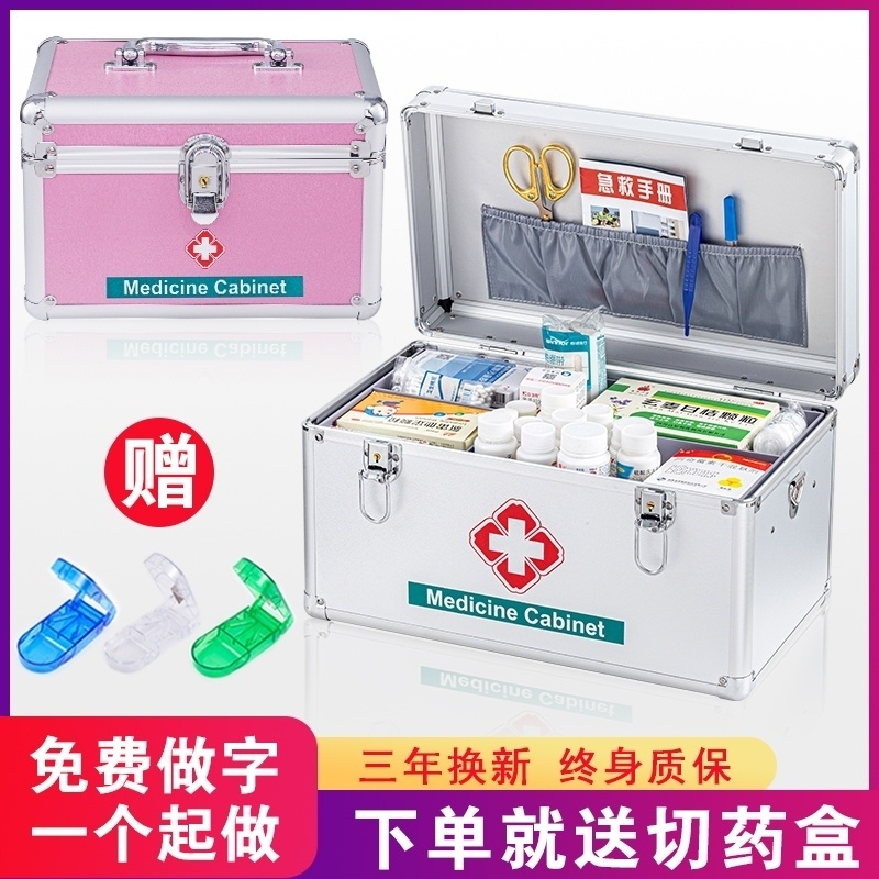 Store the emergency logo household medicine box. Sorting out the whole set of supplies, medical boxes, simple family clothes