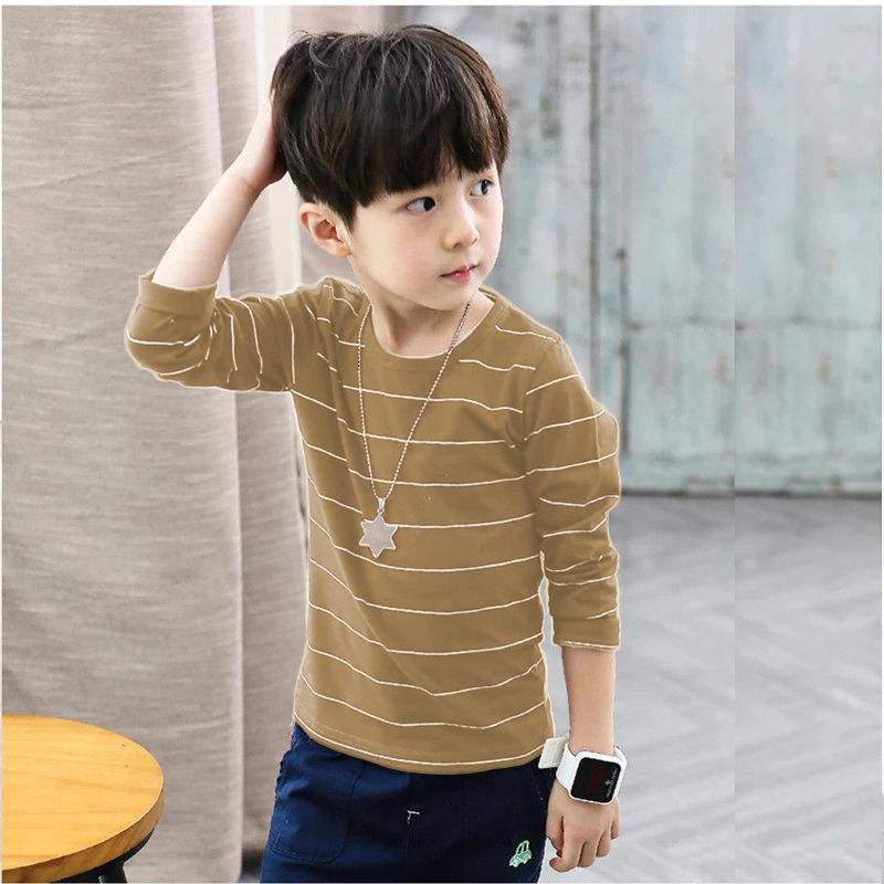 Boys long sleeve T-shirt childrens wear spring and autumn new Zhongda childrens pure cotton clothes thin striped bottomed shirt childrens autumn clothes
