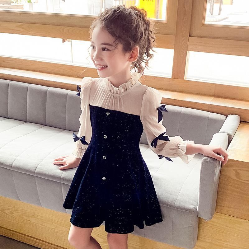 女童连衣裙秋装2020新款儿童韩版洋气法式丝绒公主裙网红女孩裙子