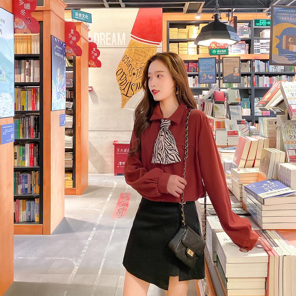 春季2020新款韓版寬松百搭翻領豹紋絲巾領長袖打底襯衫洋氣上衣女