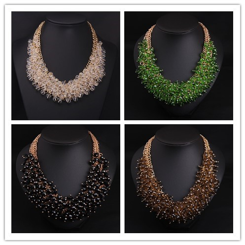 Versatile chain sweater European and American fashion luxury crystal gem bead multilayer short clavicle Necklace exaggerated womens accessories