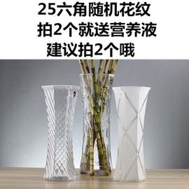 餐厅生活透明花瓶电视柜台面富贵竹简约花盆ins欧美式插花回馈图片