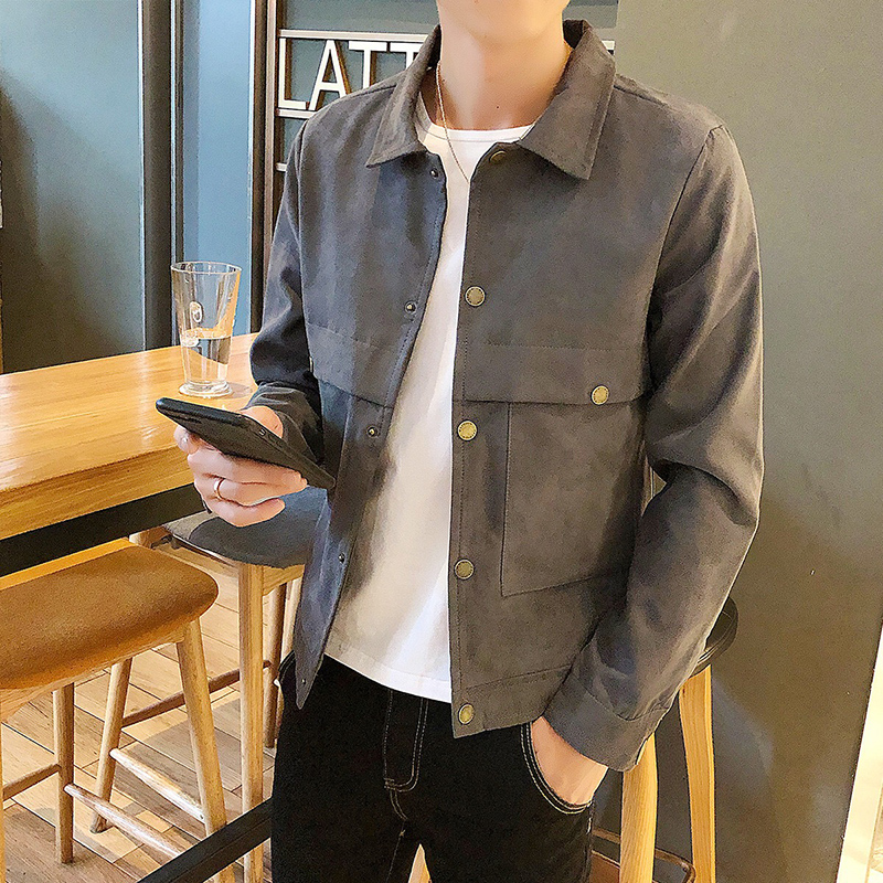 Autumn and winter new jacket mens coat Korean fashion youth casual Lapel suede mens slim fitting clothing