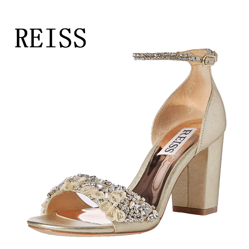 Reiss shoes new suede leather high heeled Rhinestone three-dimensional flower ribbon banquet wedding shoes light sandals
