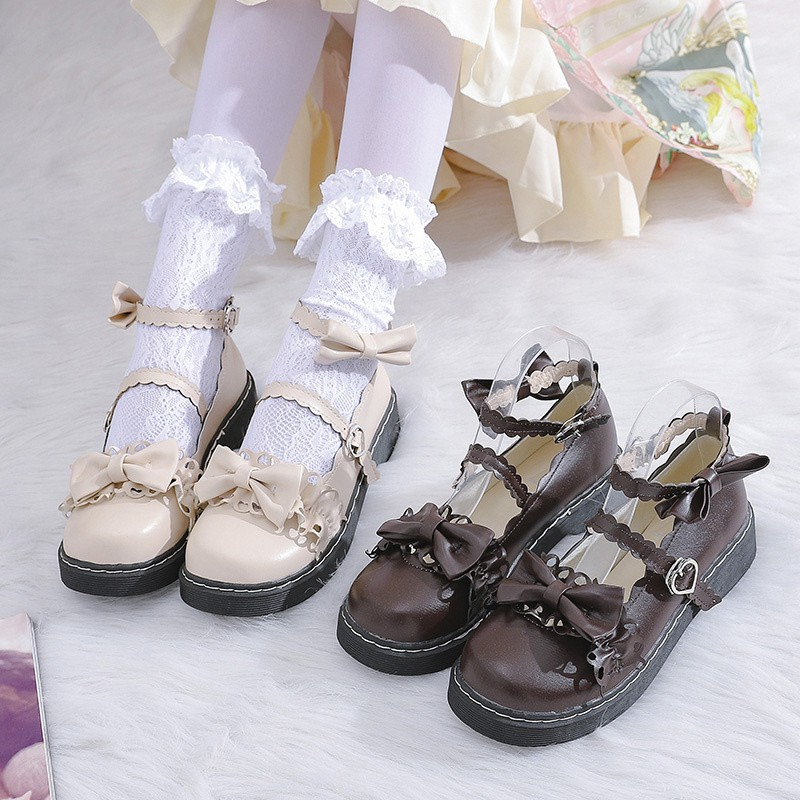 Lolitas basic hand-made shoes with big head dolls and Japanese style Lolita shoes flat sole, thick sole, round head