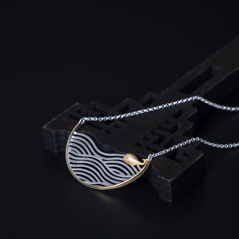 Creative design wave whale movable chain men and women retro 925 silver hollow wave semicircle Necklace