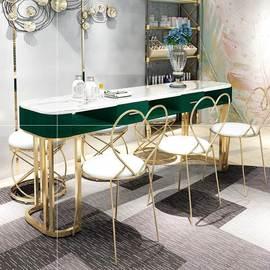 化妆修甲桌桌椅座椅三人套装墨绿色工作台复古美甲台美甲桌子网红