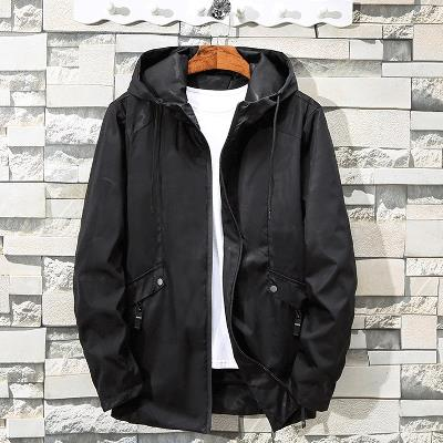 Oversized jacket mens fattening up spring and autumn thin coat fat people super large hooded trench coat loose coat trend