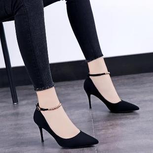 新款 一字扣百搭单鞋 女中跟性感浅口细跟高跟鞋 女鞋 秋季 子 2018韩版