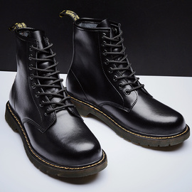 真皮马丁靴男靴子低帮中帮高帮英伦风工装百搭韩版ins黑色新款