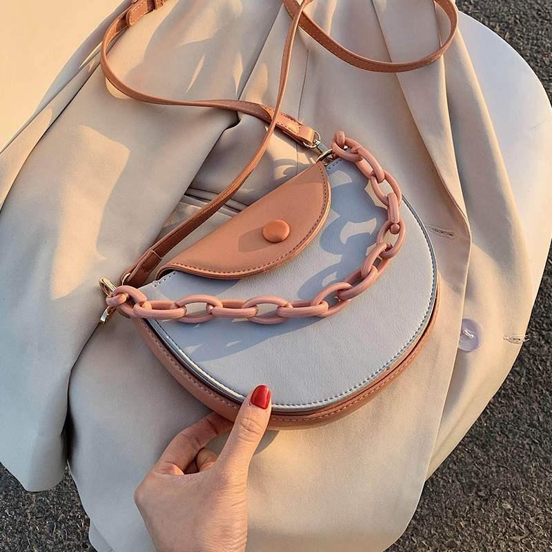 夏天网红小包包潮链条斜挎包女包百搭质感时尚马鞍包女士包袋休闲