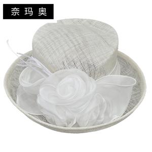 奈玛奥新款英伦麻纱表演舞台沙滩帽