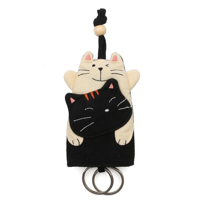 券后49.00元特!日本设计KINE猫卡通立体纯棉布艺拼布钥匙包汽车钥匙小包双环