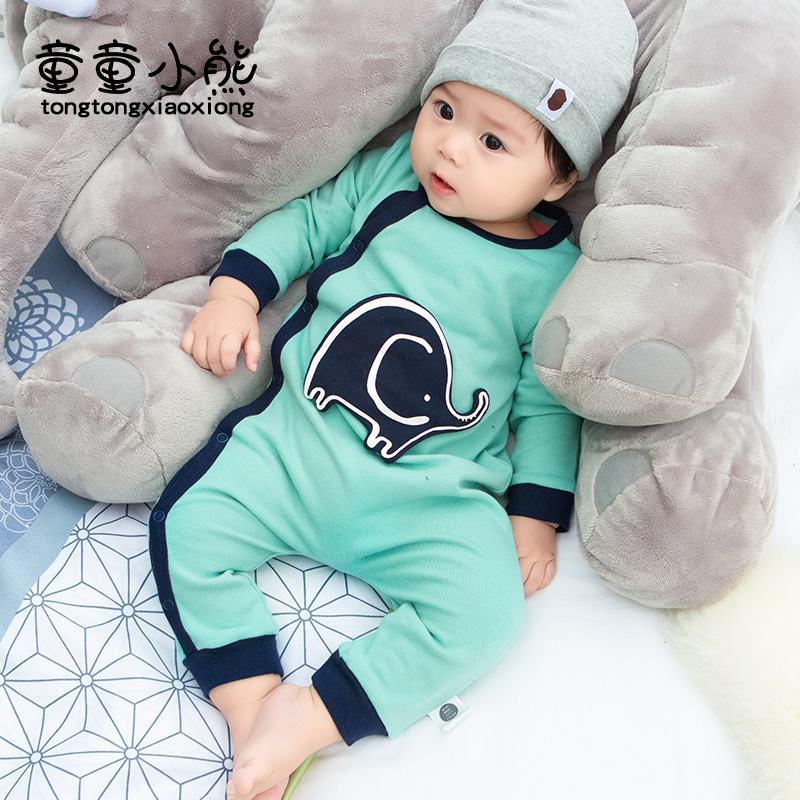 Baby long sleeve Jumpsuit spring and autumn 0-3 years old boys and Girls Cotton Khaki newborn climbing Jumpsuit