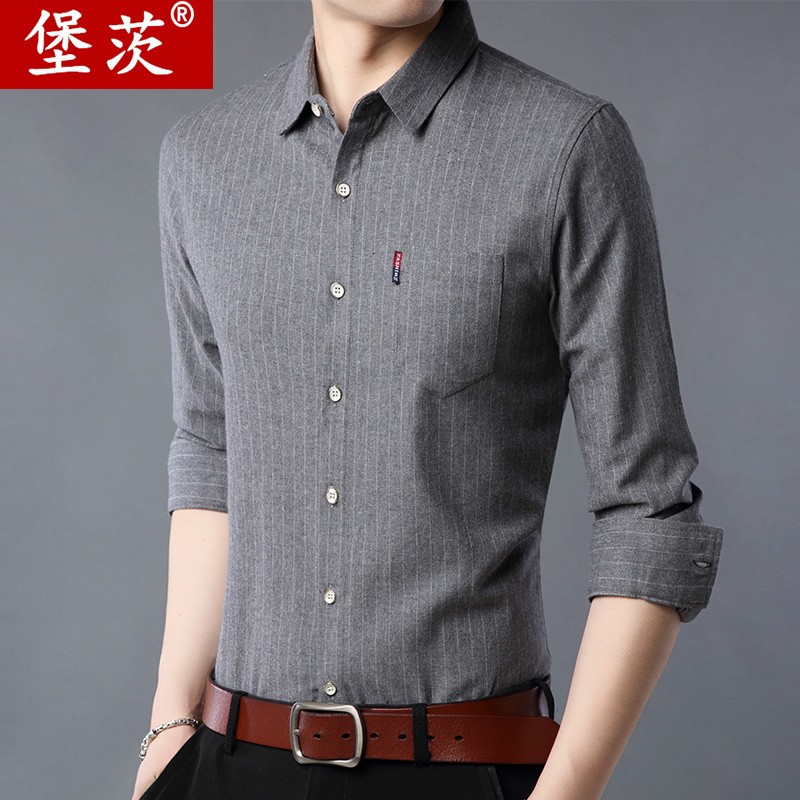 Middle aged mens long sleeve shirt stripe thin spring summer casual Korean fashion handsome dad short sleeve shirt