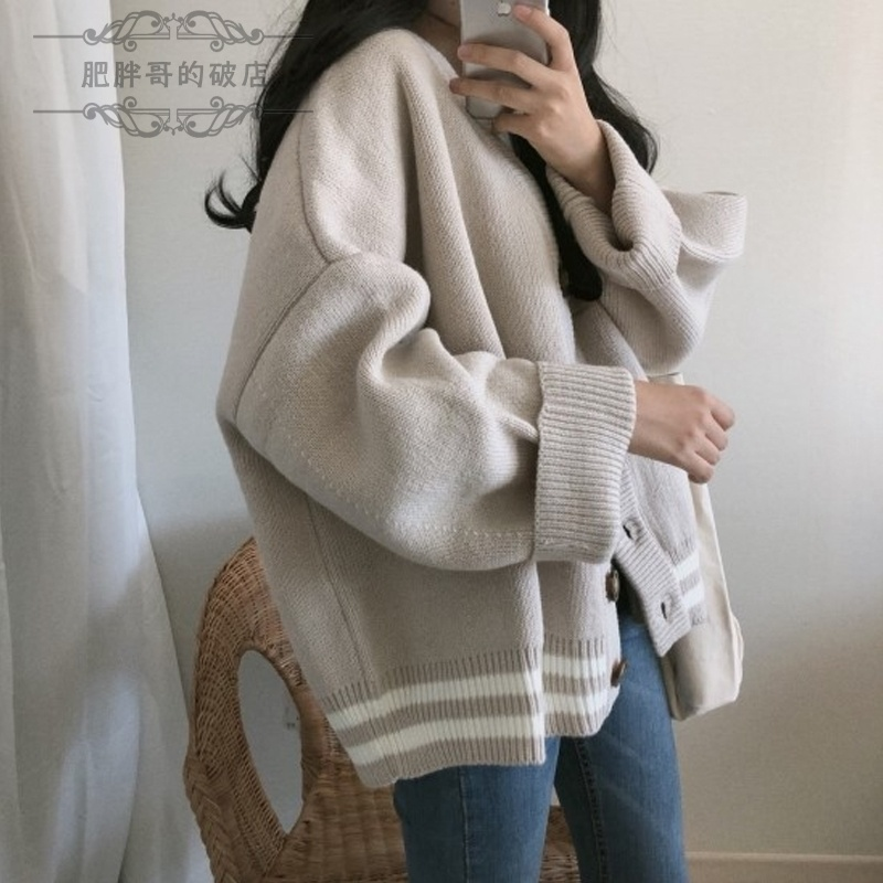 Large womens wear 200 kg / mm autumn / winter coat fat coat sweater thickened and thin