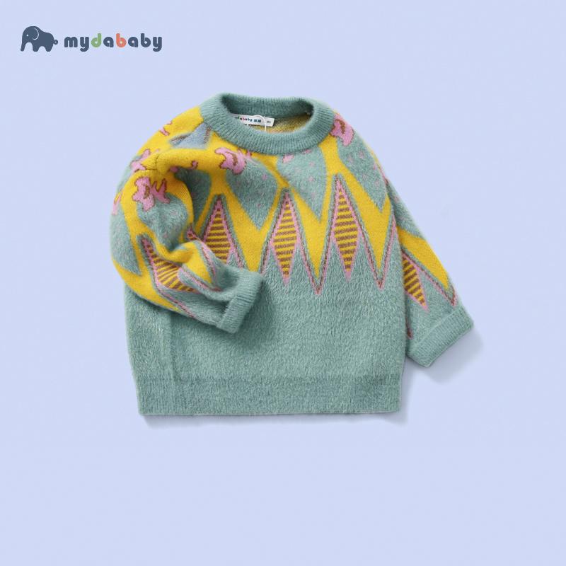 男童毛衣2019新款洋气儿童装秋冬加绒加厚水貂绒套头女宝宝针织衫