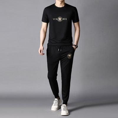 肯梵图2021夏季男装中青年新款短袖+九分裤韩版时尚运动休闲套装
