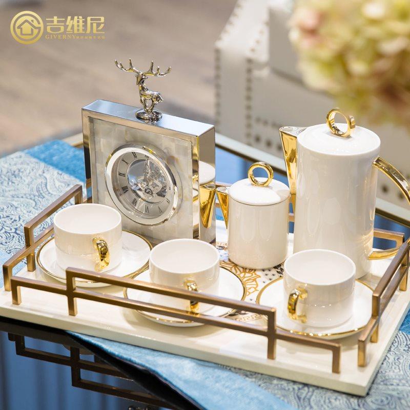 欧式新古典家居饰品样板间美式客厅茶几床上收纳装饰品托盘摆件