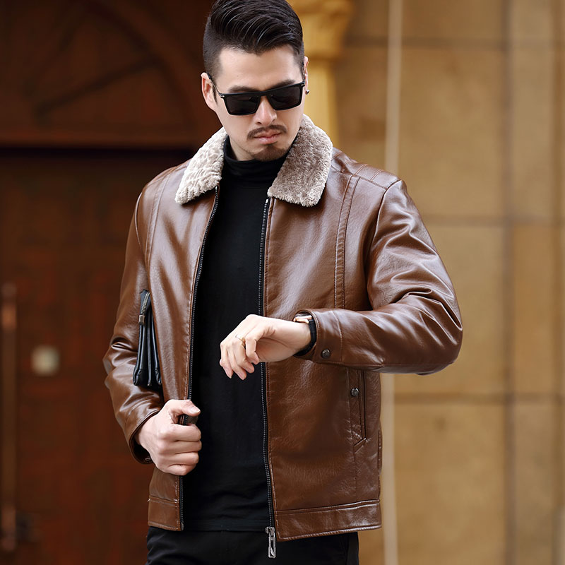 Middle aged mens fur coat father winter coat middle aged and old autumn and winter Plush thickened fur one PU leather jacket