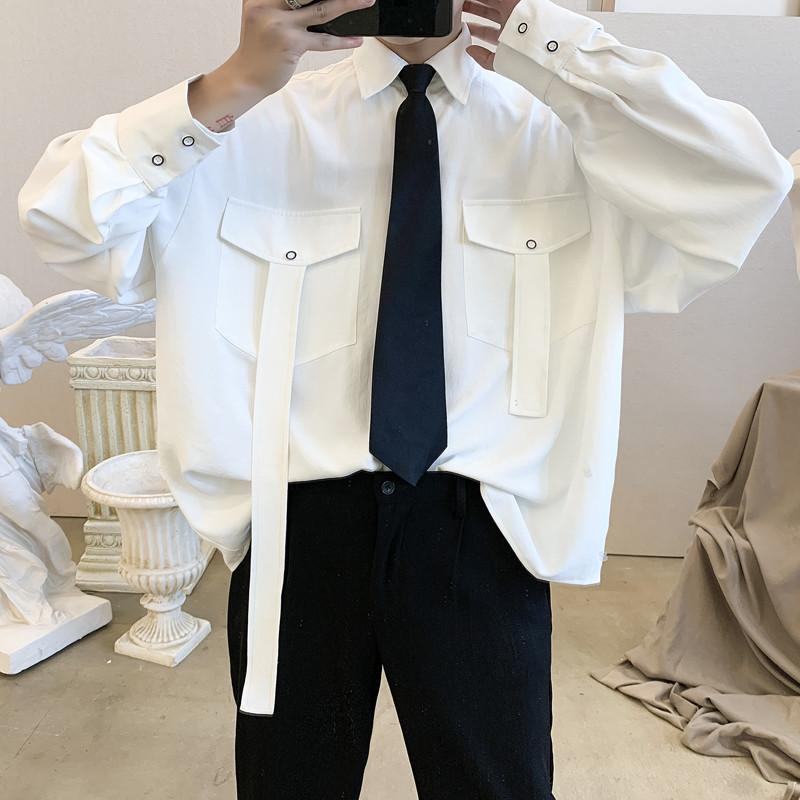 白衬衫男长袖工装韩版潮流帅气春秋款外套网红很仙的衬衣痞帅港风