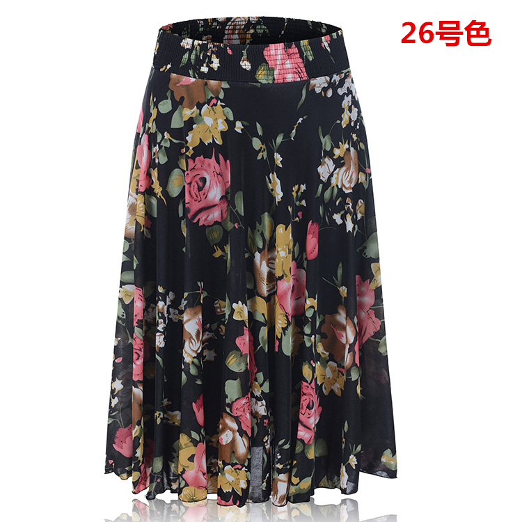 Summer middle-aged and elderly half body x skirt floral short skirt middle-aged mother big swing middle skirt ice silk square dance skirt sun