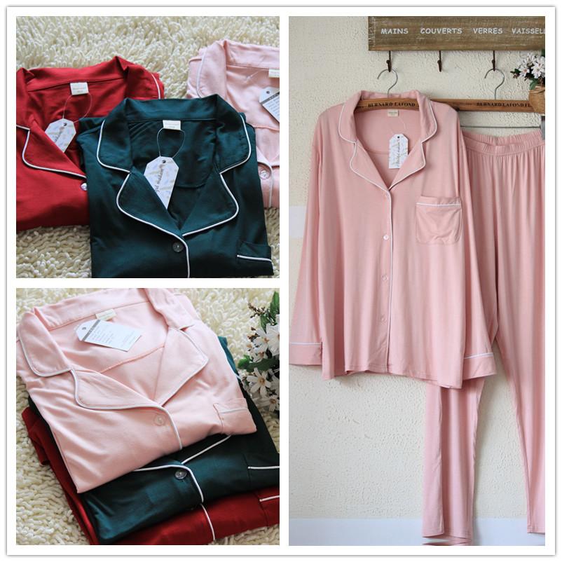 女加大码莫代尔睡衣套装衬衣款长袖长裤本命年薄款两件套夏空调服 thumbnail