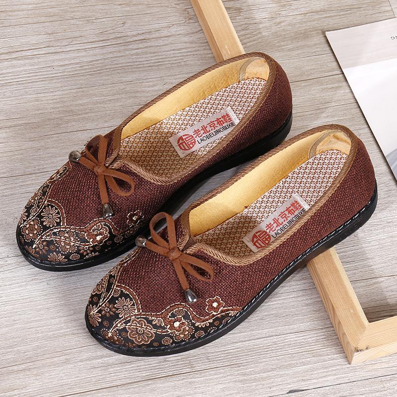 春秋老北京布鞋女妈妈单鞋老太太中老年奶奶鞋防滑软底透气老人鞋