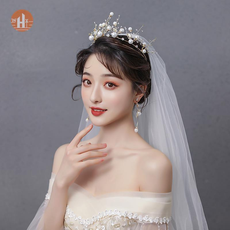 Wedding dress headdress 2021 new crown birthday crown atmosphere Sen Department XianMei luxury princess style wedding crown
