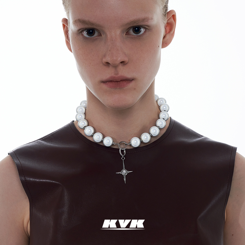 KVK Cross Necklace womens niche design 2021 new fashion Beaded simple clavicle chain womens accessories