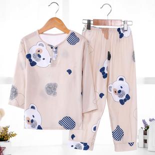 儿童棉绸睡衣薄款夏季长袖男童男孩绵绸空调家居服睡衣套装品牌